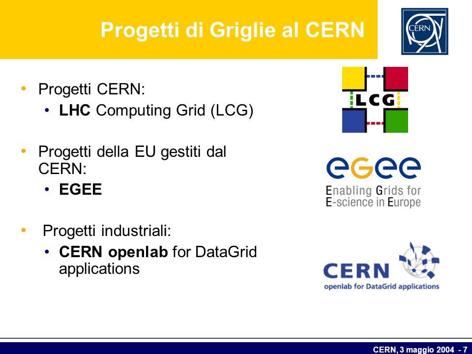 CERN, 3 maggio 2004 - 7 Progetti di Griglie al CERN Progetti CERN: LHC Computing Grid (LCG) Progetti della EU gestiti dal CERN: EGEE Progetti industri