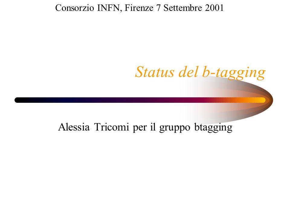 Status del b-tagging Alessia Tricomi per il gruppo btagging Consorzio INFN, Firenze 7 Settembre 2001