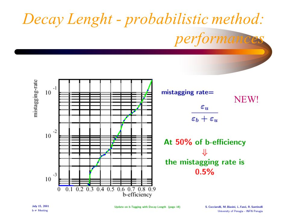 Decay Lenght - probabilistic method: performances NEW!
