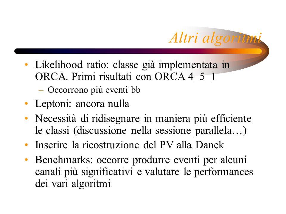 Altri algoritmi Likelihood ratio: classe già implementata in ORCA.