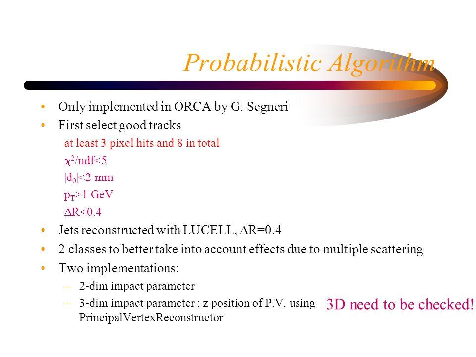 Probabilistic algorithm: perfomances 2-dim3-dim No update since the miniworkshop
