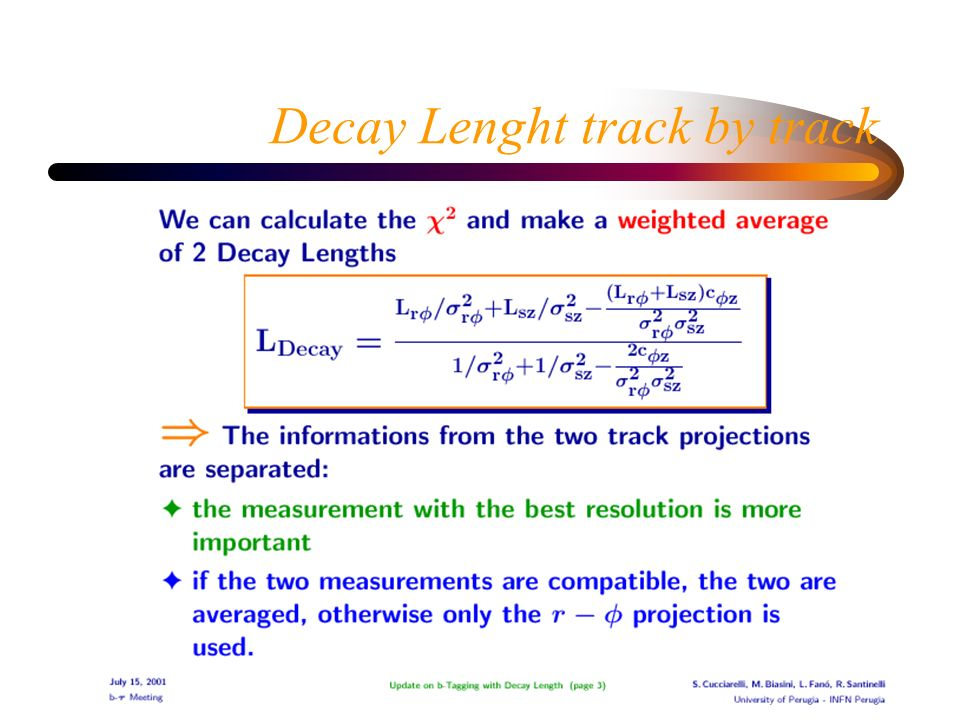 Decay Lenght track by track