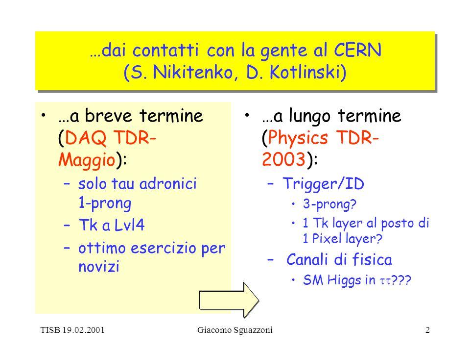 TISB 19.02.2001Giacomo Sguazzoni2 …dai contatti con la gente al CERN (S.