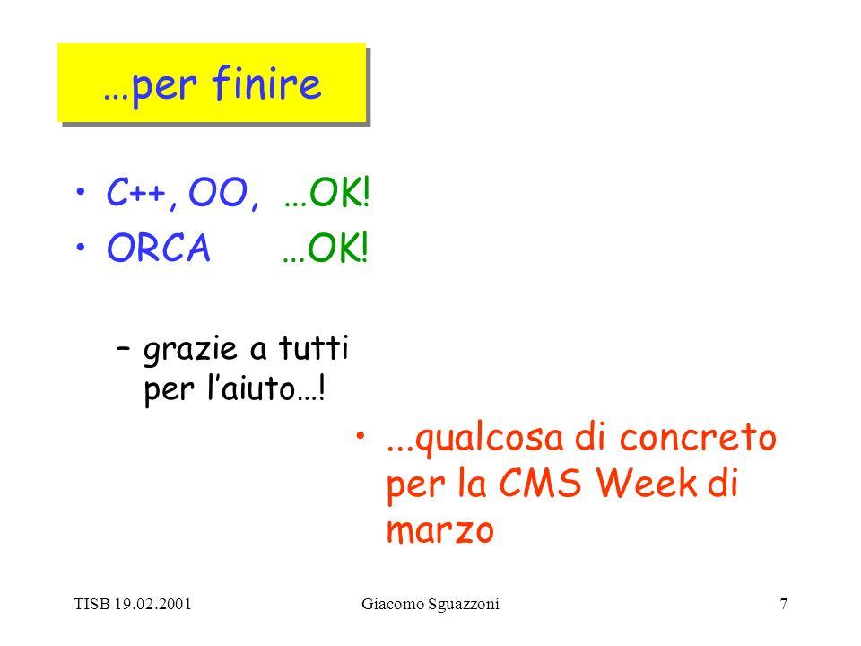 TISB 19.02.2001Giacomo Sguazzoni7 …per finire C++, OO, …OK.