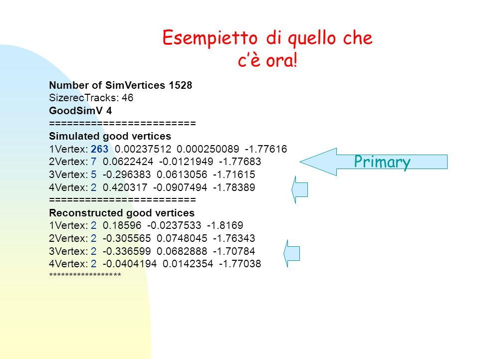 Esempietto di quello che cè ora! Number of SimVertices 1528 SizerecTracks: 46 GoodSimV 4 ======================== Simulated good vertices 1Vertex: 263