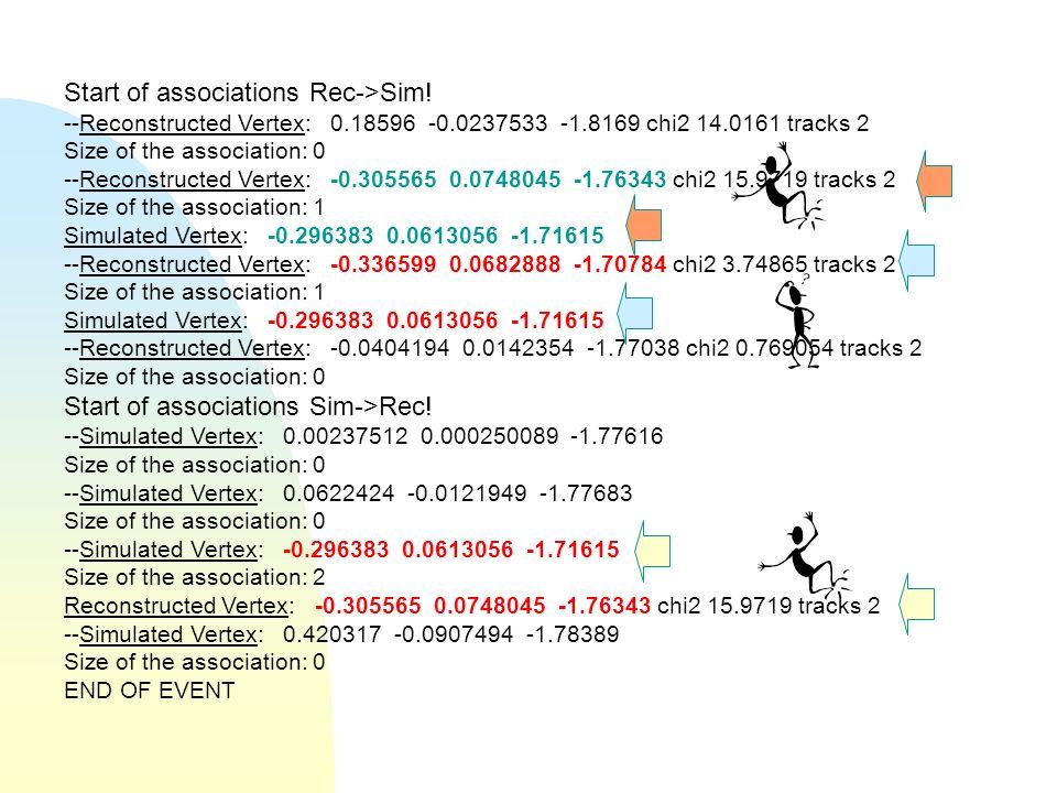Start of associations Rec->Sim.