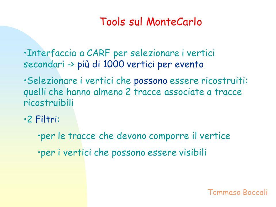 Tools sul MonteCarlo Interfaccia a CARF per selezionare i vertici secondari -> più di 1000 vertici per evento Selezionare i vertici che possono essere