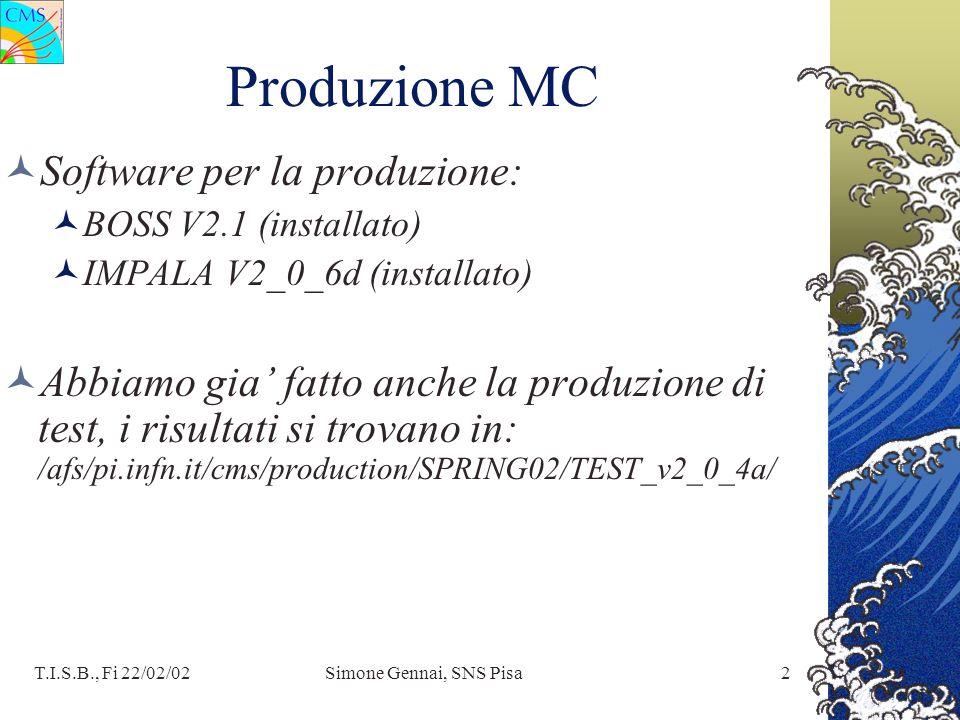 T.I.S.B., Fi 22/02/02Simone Gennai, SNS Pisa2 Produzione MC Software per la produzione: BOSS V2.1 (installato) IMPALA V2_0_6d (installato) Abbiamo gia fatto anche la produzione di test, i risultati si trovano in: /afs/pi.infn.it/cms/production/SPRING02/TEST_v2_0_4a/