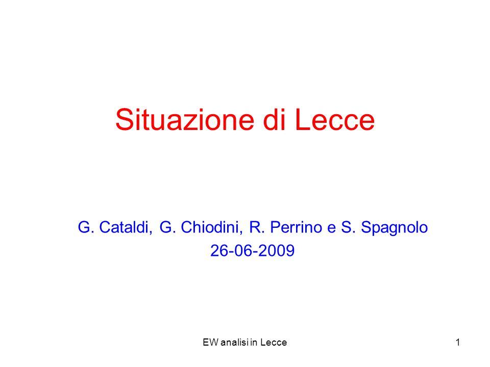 EW analisi in Lecce1 Situazione di Lecce G. Cataldi, G.