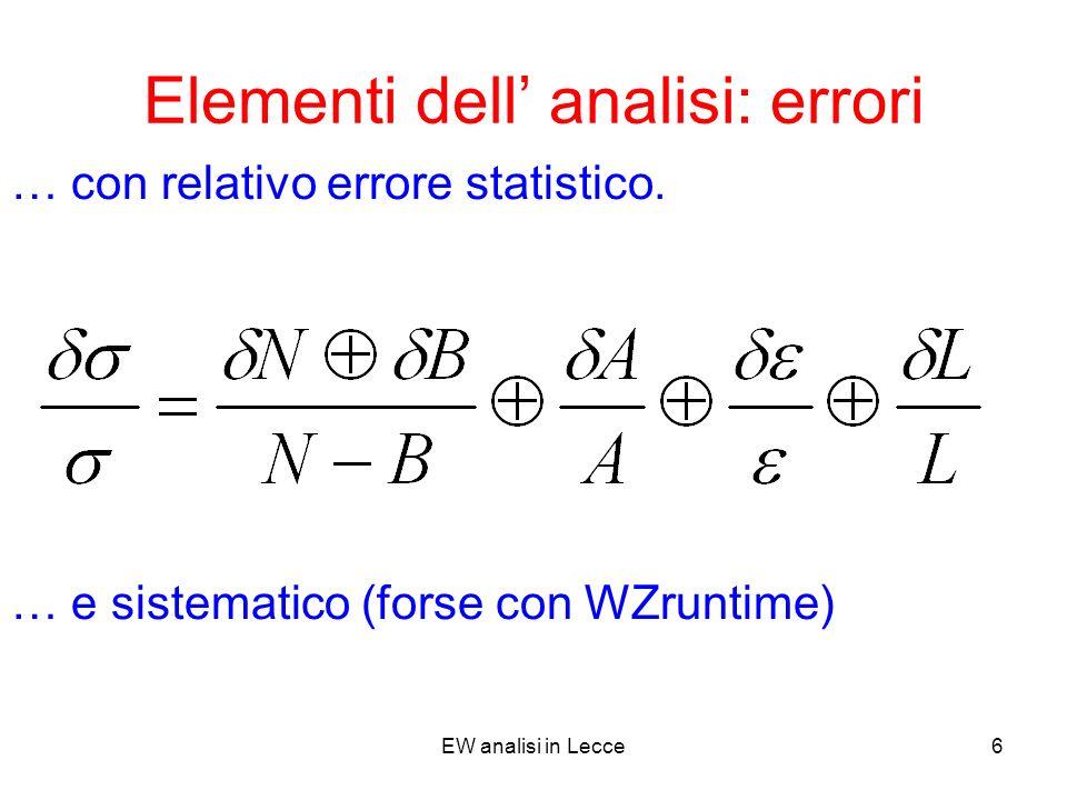 EW analisi in Lecce6 Elementi dell analisi: errori … con relativo errore statistico.