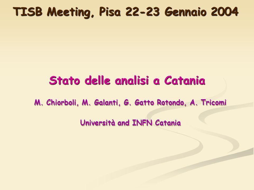 Stato delle analisi a Catania M. Chiorboli, M. Galanti, G.