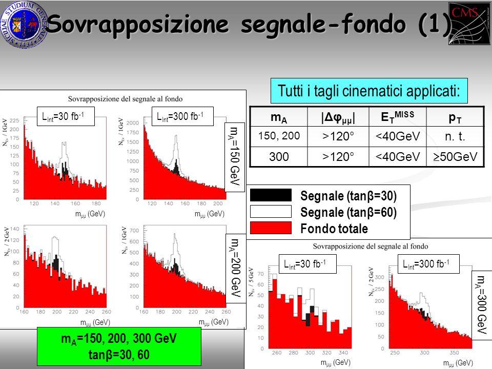 m μμ (GeV) Sovrapposizione segnale-fondo (1) Tutti i tagli cinematici applicati: mAmA |Δφ μμ |E T MISS pTpT 150, 200 >120°<40GeVn.