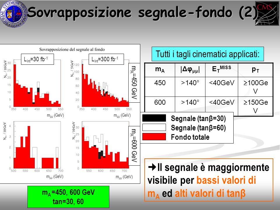 Sovrapposizione segnale-fondo (2) Sovrapposizione segnale-fondo (2) Tutti i tagli cinematici applicati: mAmA |Δφ μμ |E T MISS pTpT 450>140°<40GeV 100Ge V 600>140°<40GeV 150Ge V m A =450, 600 GeV tan=30, 60 Il segnale è maggiormente visibile per bassi valori di m A ed alti valori di tanβ Segnale (tanβ=30) Segnale (tanβ=60) Fondo totale L Int =30 fb -1 L Int =300 fb -1 m A =450 GeV m A =600 GeV m μμ (GeV)