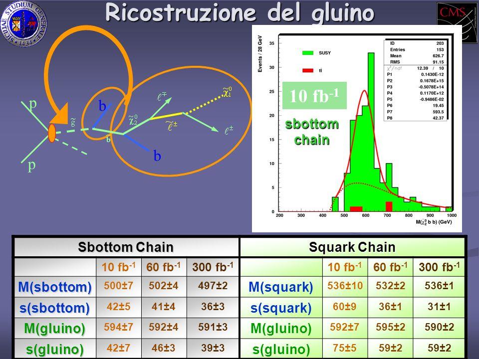 Ricostruzione del gluino p p b b 10 fb -1 sbottom chain Sbottom Chain Squark Chain 10 fb -1 60 fb -1 300 fb -1 10 fb -1 60 fb -1 300 fb -1 M(sbottom) 500±7502±4497±2 M(squark) 536±10532±2536±1 s(sbottom) 42±541±436±3 s(squark) 60±936±131±1 M(gluino) 594±7592±4591±3 M(gluino) 592±7595±2590±2 s(gluino) 42±746±339±3 s(gluino) 75±559±2