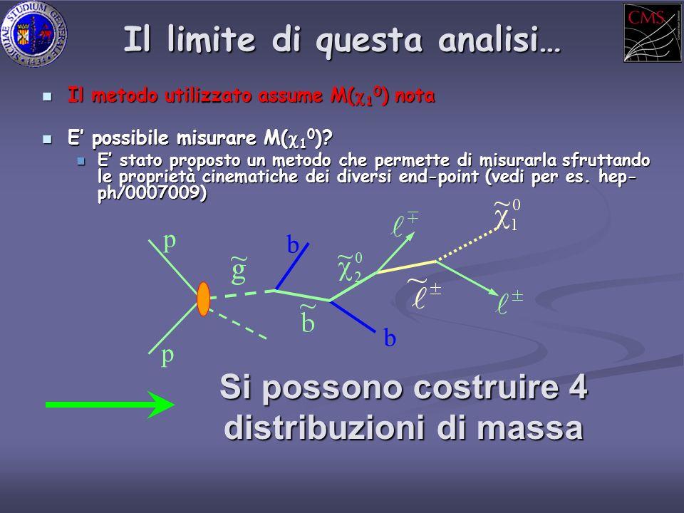 Il limite di questa analisi… E possibile misurare M( 1 0 ).