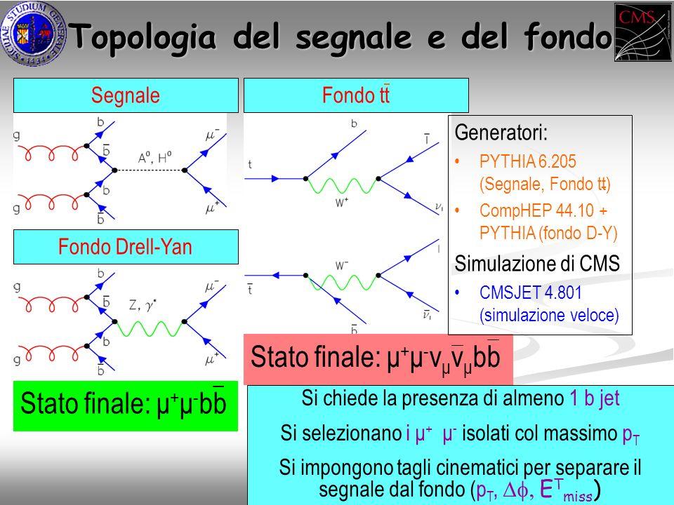 Topologia del segnale e del fondo Topologia del segnale e del fondo Segnale Fondo Drell-Yan Stato finale: μ + μ - bb Stato finale: μ + μ - ν μ ν μ bb Generatori: PYTHIA 6.205 (Segnale, Fondo tt) CompHEP 44.10 + PYTHIA (fondo D-Y) Simulazione di CMS CMSJET 4.801 (simulazione veloce) Fondo tt Si chiede la presenza di almeno 1 b jet Si selezionano i μ + μ - isolati col massimo p T Si impongono tagli cinematici per separare il segnale dal fondo (p T, E T miss )