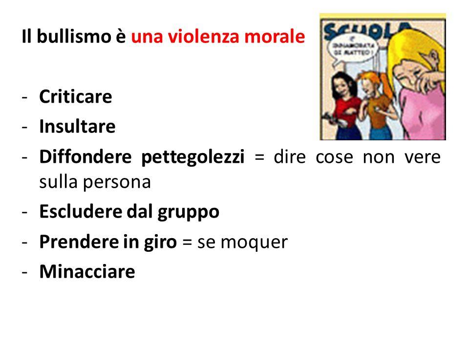 Il bullismo è una violenza morale -Criticare -Insultare -Diffondere pettegolezzi = dire cose non vere sulla persona -Escludere dal gruppo -Prendere in
