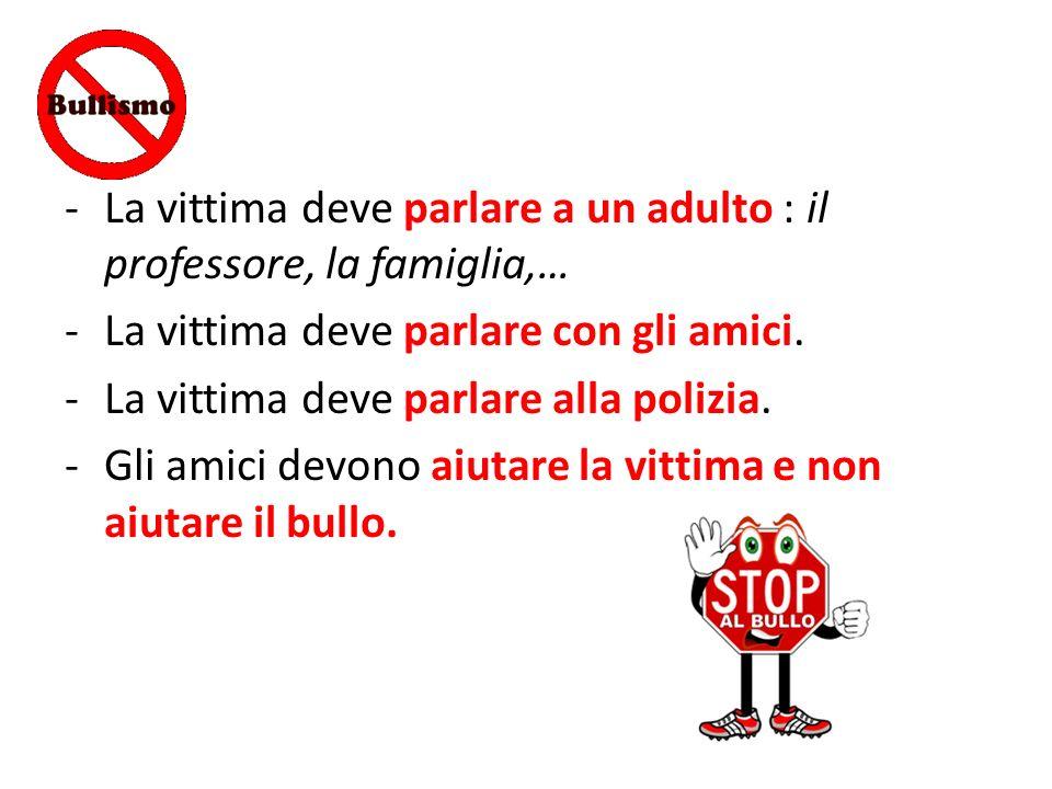 -La vittima deve parlare a un adulto : il professore, la famiglia,… -La vittima deve parlare con gli amici. -La vittima deve parlare alla polizia. -Gl