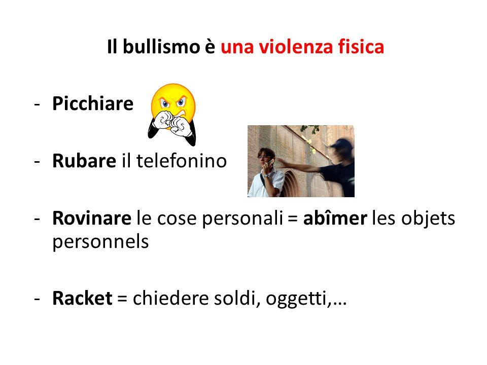 Il bullismo è una violenza fisica -Picchiare -Rubare il telefonino -Rovinare le cose personali = abîmer les objets personnels -Racket = chiedere soldi