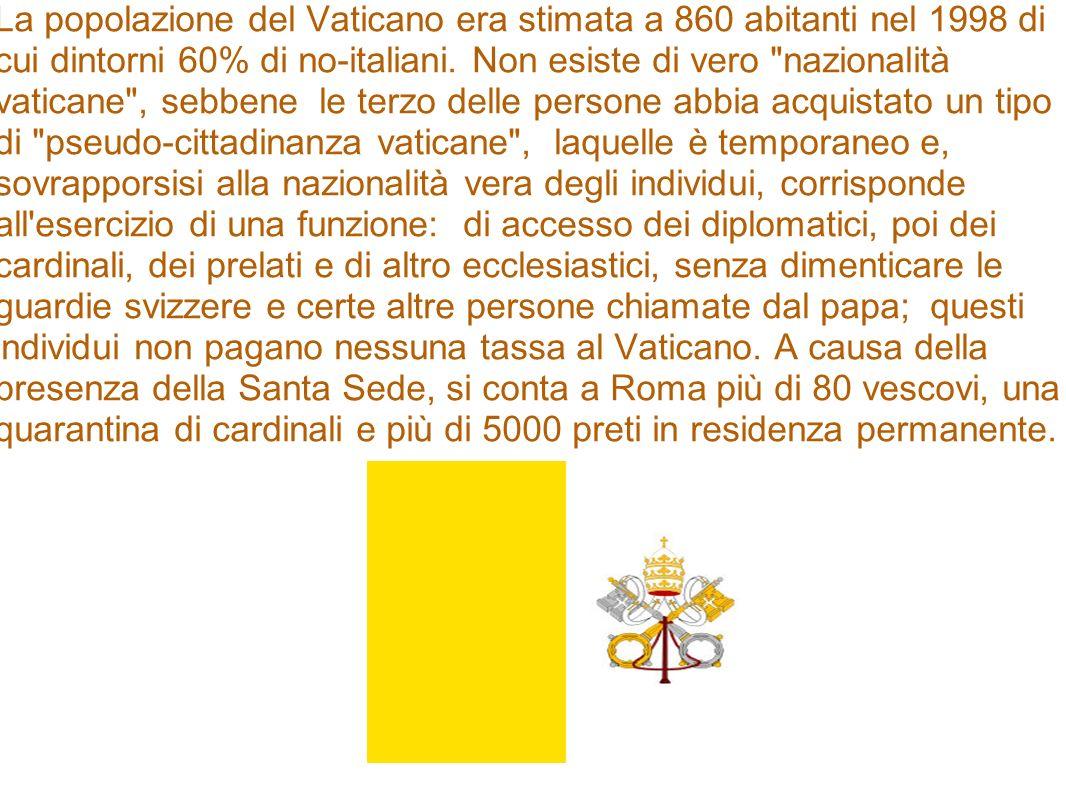 La popolazione del Vaticano era stimata a 860 abitanti nel 1998 di cui dintorni 60% di no-italiani. Non esiste di vero