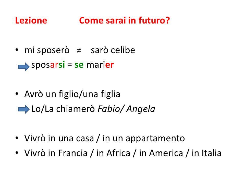 Lezione Come sarai in futuro? mi sposerò sarò celibe sposarsi = se marier Avrò un figlio/una figlia Lo/La chiamerò Fabio/ Angela Vivrò in una casa / i