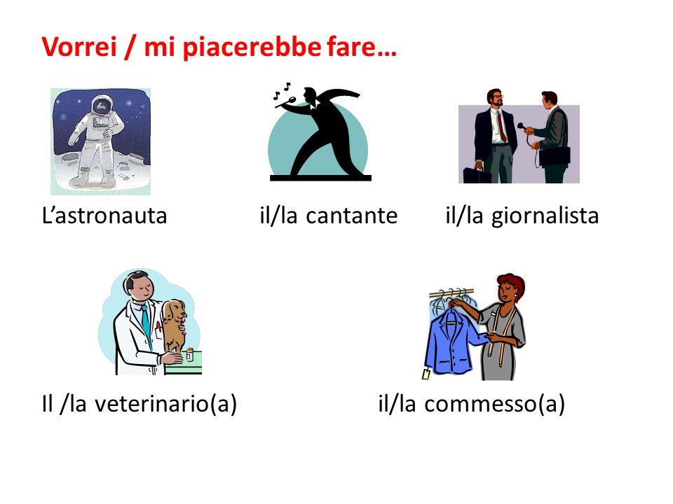 Vorrei / mi piacerebbe fare… Lastronauta il/la cantanteil/la giornalista Il /la veterinario(a)il/la commesso(a)