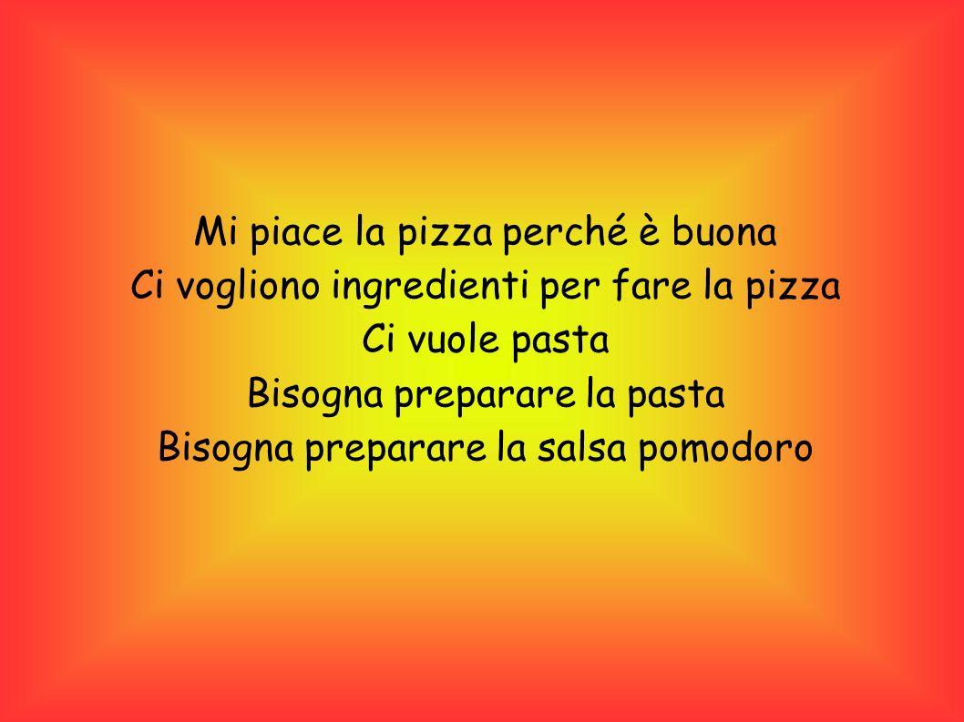 Mi piace la pizza perché è buona Ci vogliono ingredienti per fare la pizza Ci vuole pasta Bisogna preparare la pasta Bisogna preparare la salsa pomodoro