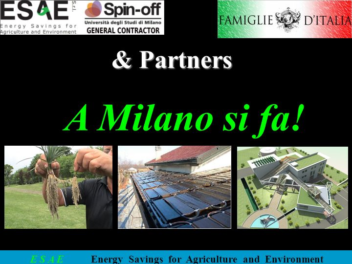 E S A E Energy Savings for Agriculture and Environment free brains light! il sole cè usiamolo!