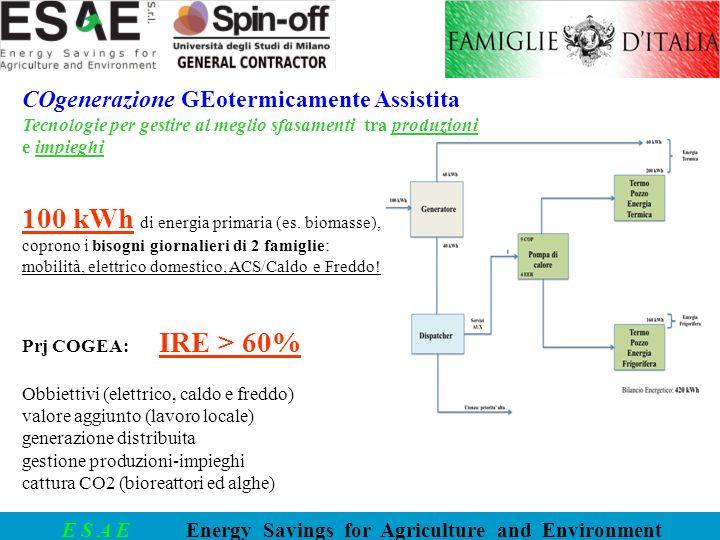E S A E Energy Savings for Agriculture and Environment COgenerazione GEotermicamente Assistita Tecnologie per gestire al meglio sfasamenti tra produzi