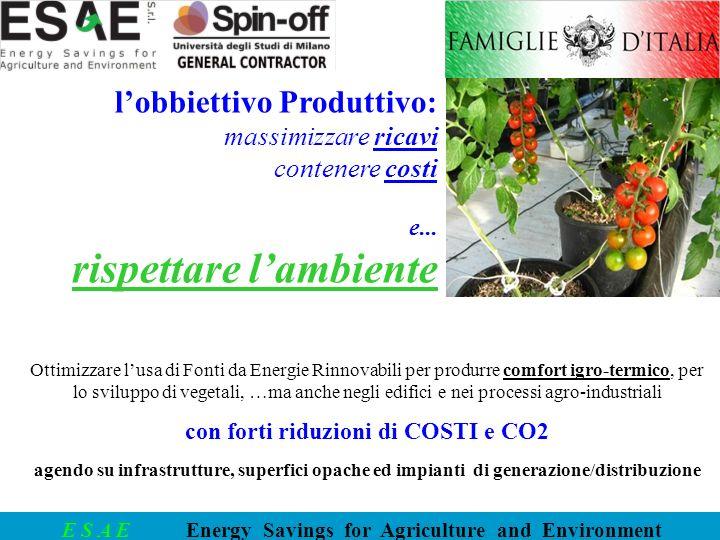 E S A E Energy Savings for Agriculture and Environment Ottimizzare lusa di Fonti da Energie Rinnovabili per produrre comfort igro-termico, per lo svil