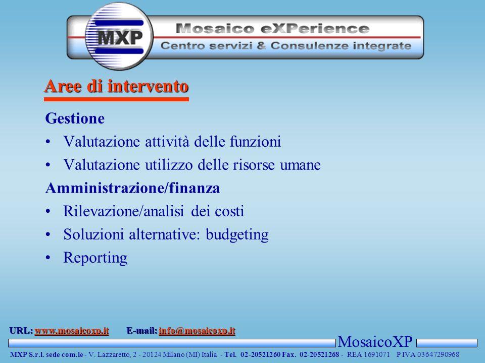 Aree di intervento MosaicoXP MXP S.r.l. sede com.le - V.