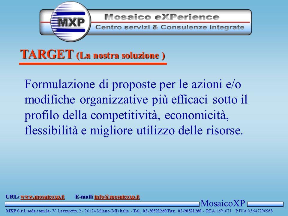 TARGET (La nostra soluzione ) MosaicoXP MXP S.r.l.