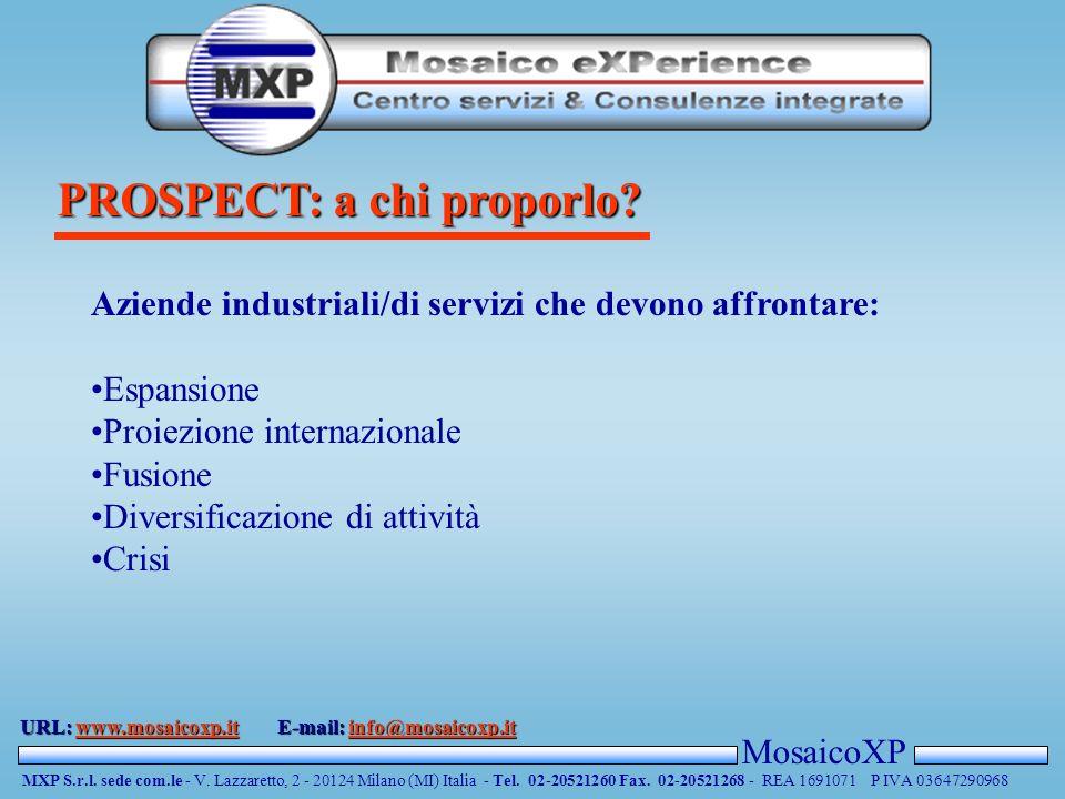 PROSPECT: a chi proporlo. MosaicoXP MXP S.r.l. sede com.le - V.