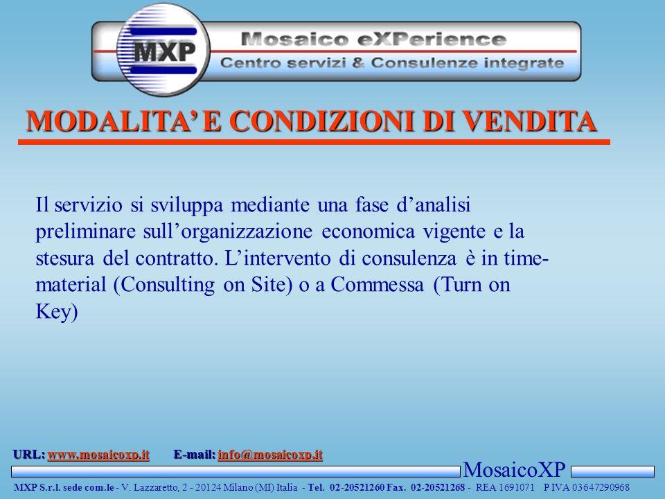 MODALITA E CONDIZIONI DI VENDITA MosaicoXP MXP S.r.l.