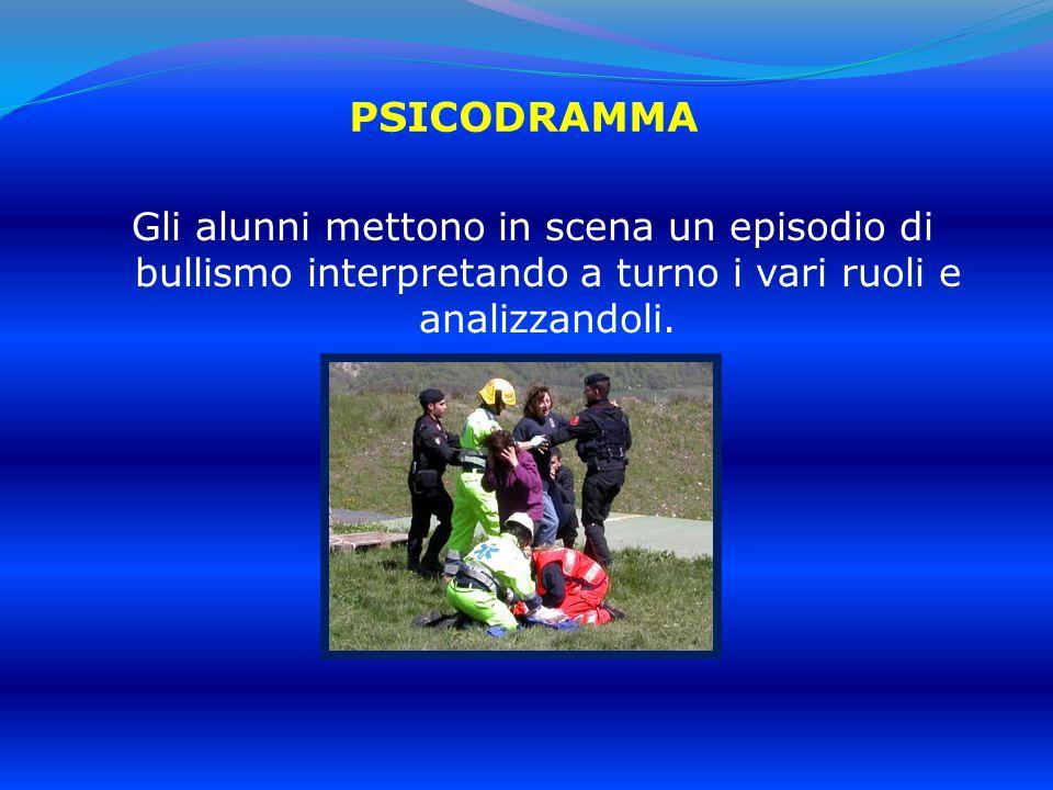 PSICODRAMMA Gli alunni mettono in scena un episodio di bullismo interpretando a turno i vari ruoli e analizzandoli.
