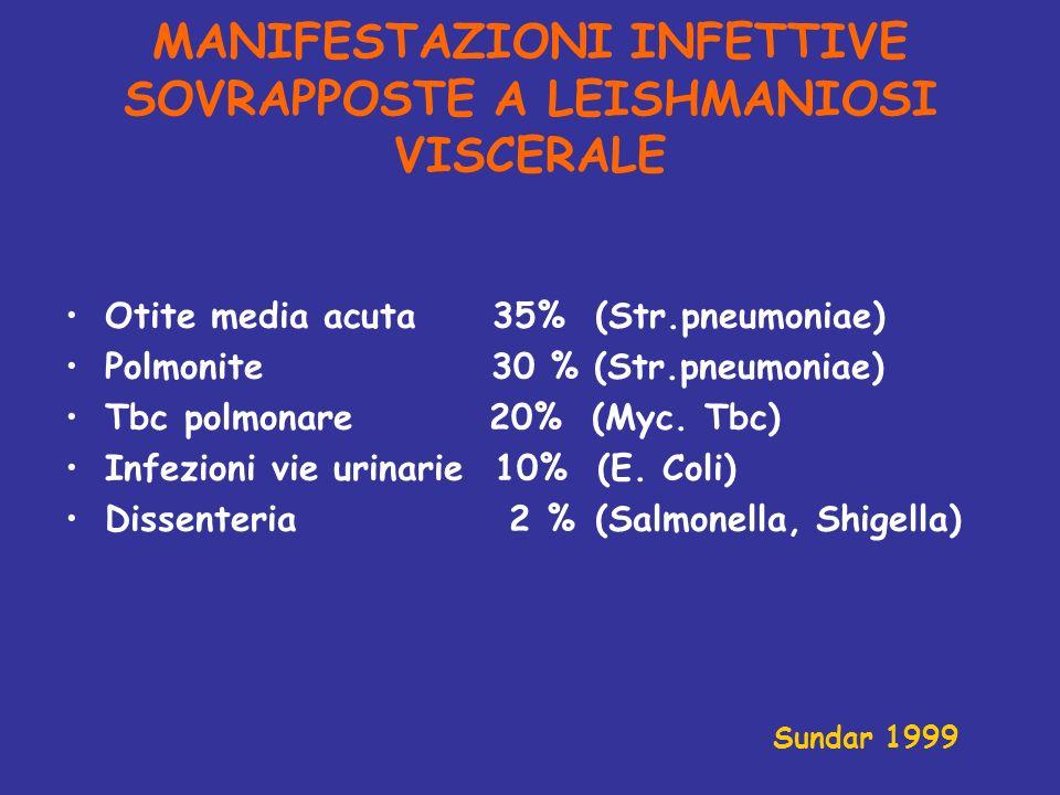 MANIFESTAZIONI INFETTIVE SOVRAPPOSTE A LEISHMANIOSI VISCERALE Otite media acuta 35% (Str.pneumoniae) Polmonite 30 % (Str.pneumoniae) Tbc polmonare 20%