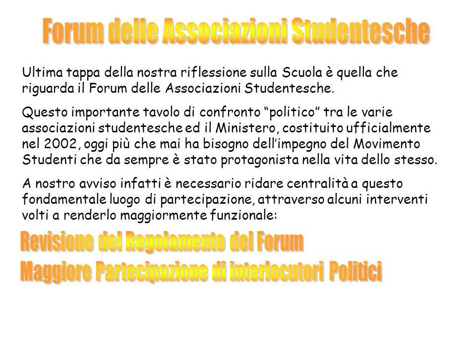 Ultima tappa della nostra riflessione sulla Scuola è quella che riguarda il Forum delle Associazioni Studentesche.