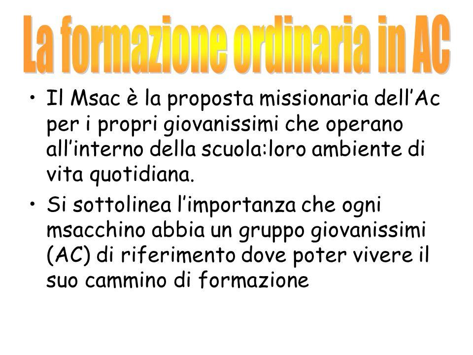 Il Msac è la proposta missionaria dellAc per i propri giovanissimi che operano allinterno della scuola:loro ambiente di vita quotidiana.