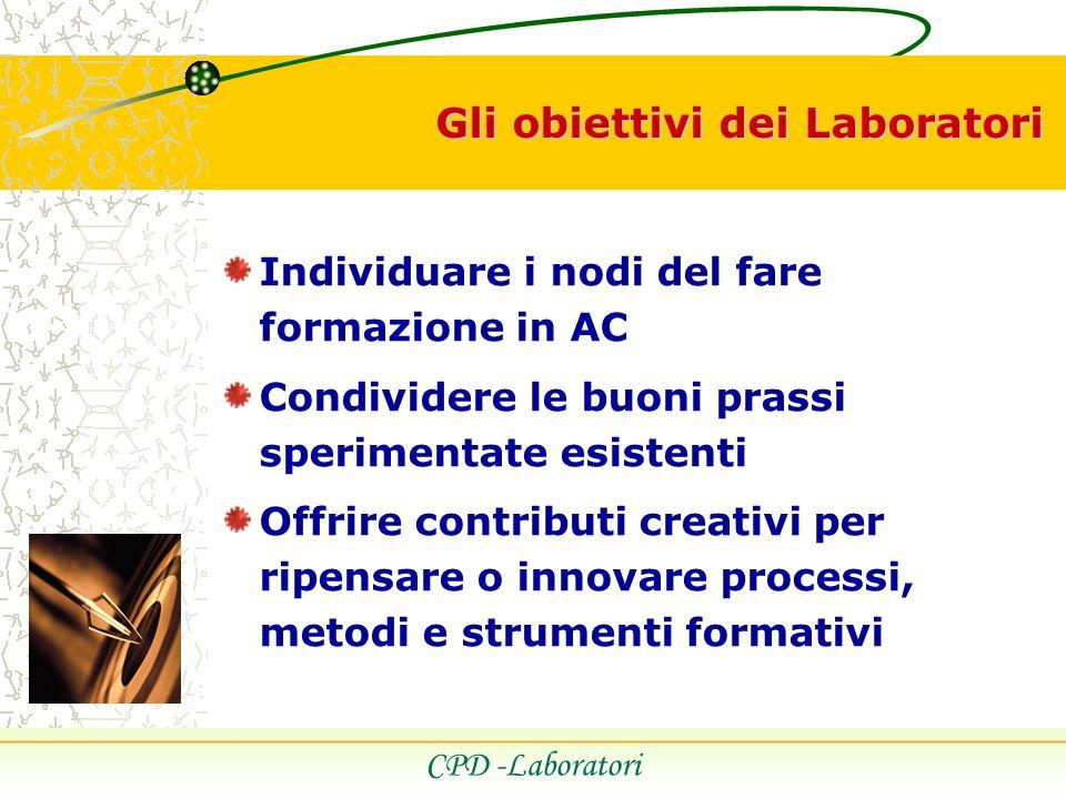 Gli obiettivi dei Laboratori CPD -Laboratori Individuare i nodi del fare formazione in AC Condividere le buoni prassi sperimentate esistenti Offrire contributi creativi per ripensare o innovare processi, metodi e strumenti formativi