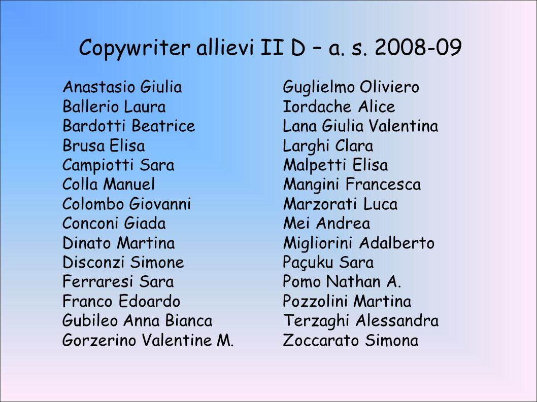 Copywriter allievi II D – a.s.