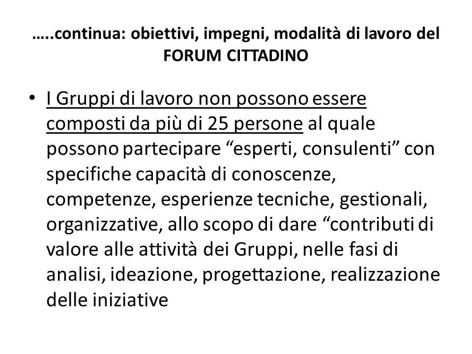…..continua: obiettivi, impegni, modalità di lavoro del FORUM CITTADINO I Gruppi di lavoro non possono essere composti da più di 25 persone al quale p
