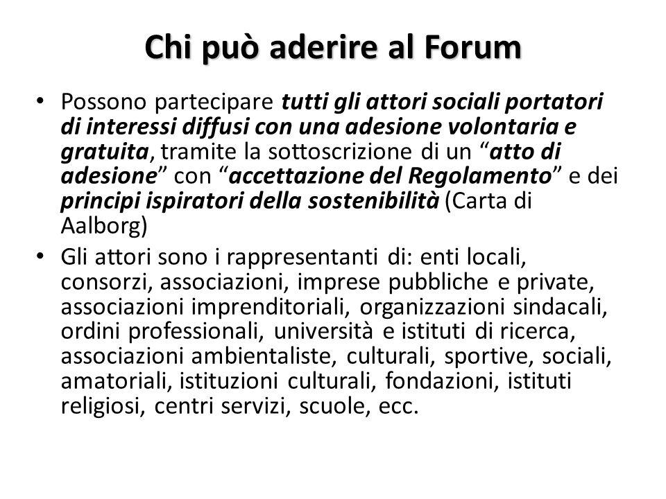 Chi può aderire al Forum Possono partecipare tutti gli attori sociali portatori di interessi diffusi con una adesione volontaria e gratuita, tramite l