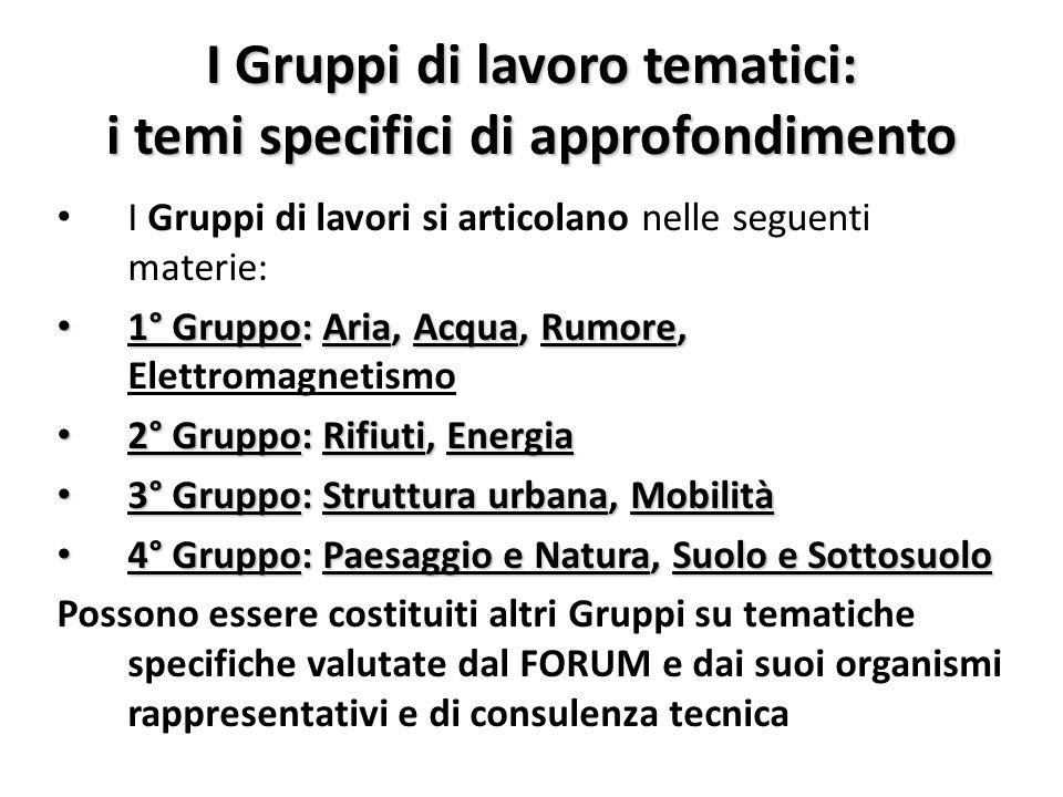 I Gruppi di lavoro tematici: i temi specifici di approfondimento I Gruppi di lavori si articolano nelle seguenti materie: 1° Gruppo: Aria, Acqua, Rumo