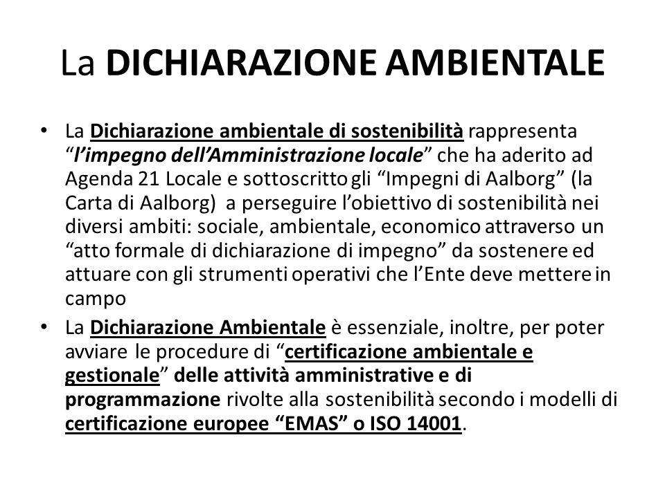 La DICHIARAZIONE AMBIENTALE La Dichiarazione ambientale di sostenibilità rappresentalimpegno dellAmministrazione locale che ha aderito ad Agenda 21 Lo