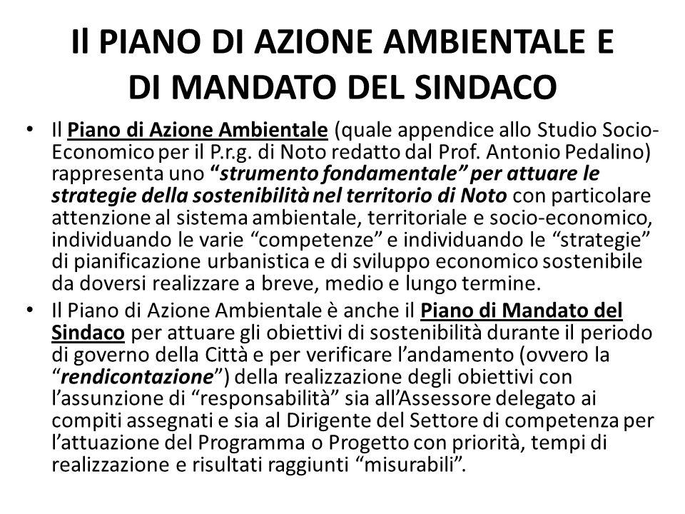 Il PIANO DI AZIONE AMBIENTALE E DI MANDATO DEL SINDACO Il Piano di Azione Ambientale (quale appendice allo Studio Socio- Economico per il P.r.g. di No
