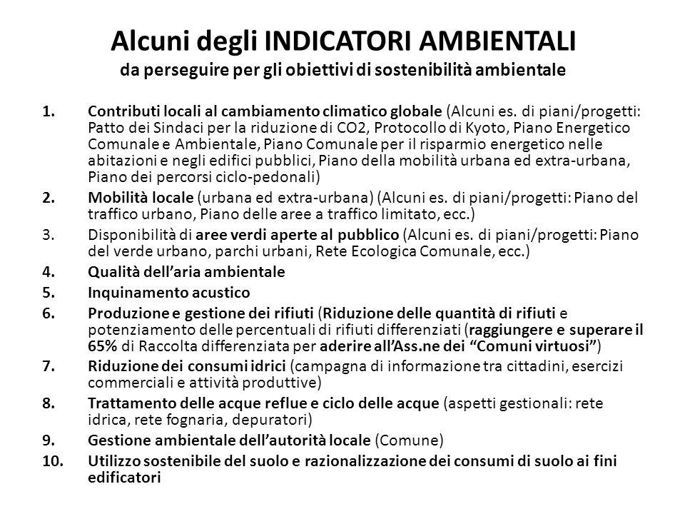 Alcuni degli INDICATORI AMBIENTALI da perseguire per gli obiettivi di sostenibilità ambientale 1.Contributi locali al cambiamento climatico globale (Alcuni es.