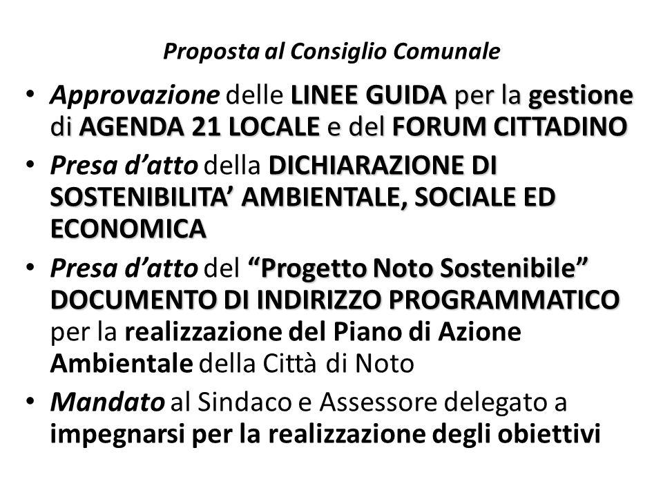 Proposta al Consiglio Comunale LINEE GUIDA per la gestione di AGENDA 21 LOCALE e del FORUM CITTADINO Approvazione delle LINEE GUIDA per la gestione di