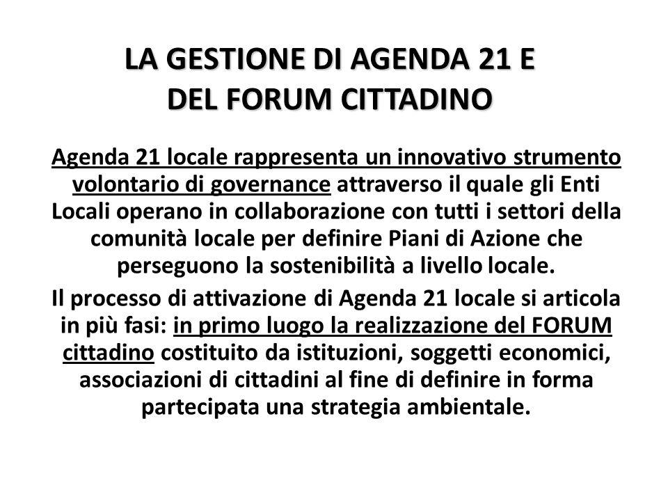 LA GESTIONE DI AGENDA 21 E DEL FORUM CITTADINO Agenda 21 locale rappresenta un innovativo strumento volontario di governance attraverso il quale gli Enti Locali operano in collaborazione con tutti i settori della comunità locale per definire Piani di Azione che perseguono la sostenibilità a livello locale.