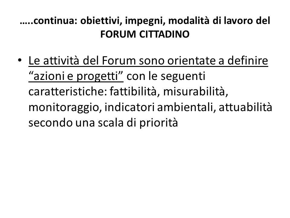 …..continua: obiettivi, impegni, modalità di lavoro del FORUM CITTADINO Le attività del Forum sono orientate a definire azioni e progetti con le segue