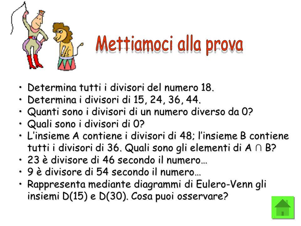 Determina tutti i divisori del numero 18.Determina tutti i divisori del numero 18. Determina i divisori di 15, 24, 36, 44.Determina i divisori di 15,